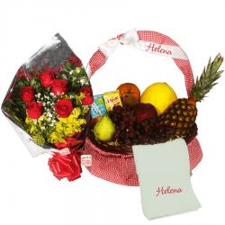 Cesta de Frutas e Flores dos Avós- Dia dos Avós