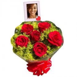 Buquê Médio com 6 rosas personalizado com foto